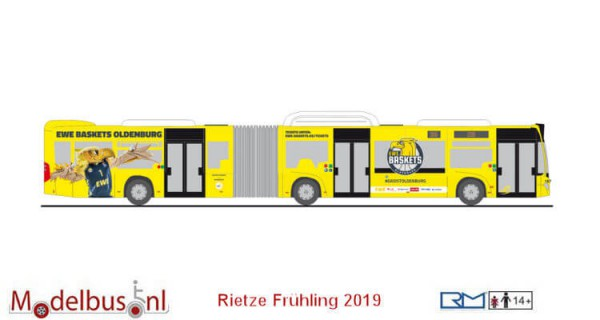 "Rietze 73648 Spoor H0 Mercedes-Benz Citaro G`15 NGT ""VWG Oldenburg / EWE Baskets"""
