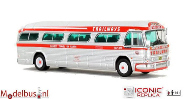 Iconic Replicas 087-0148 GM PD4104 Motorcoach: Trailways - Thru Line