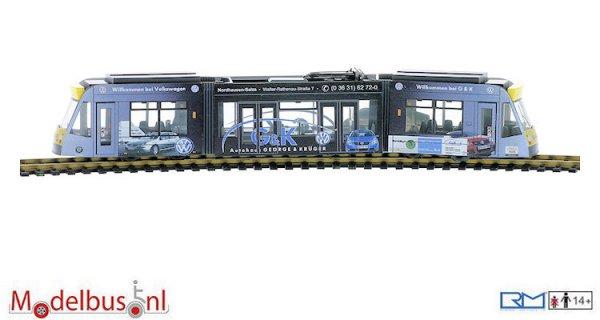 """Rietze STRA01073 Siemens Combino 3-delig """"Verkehrsbetriebe Nordhausen Autohaus George & Krüger"""""""
